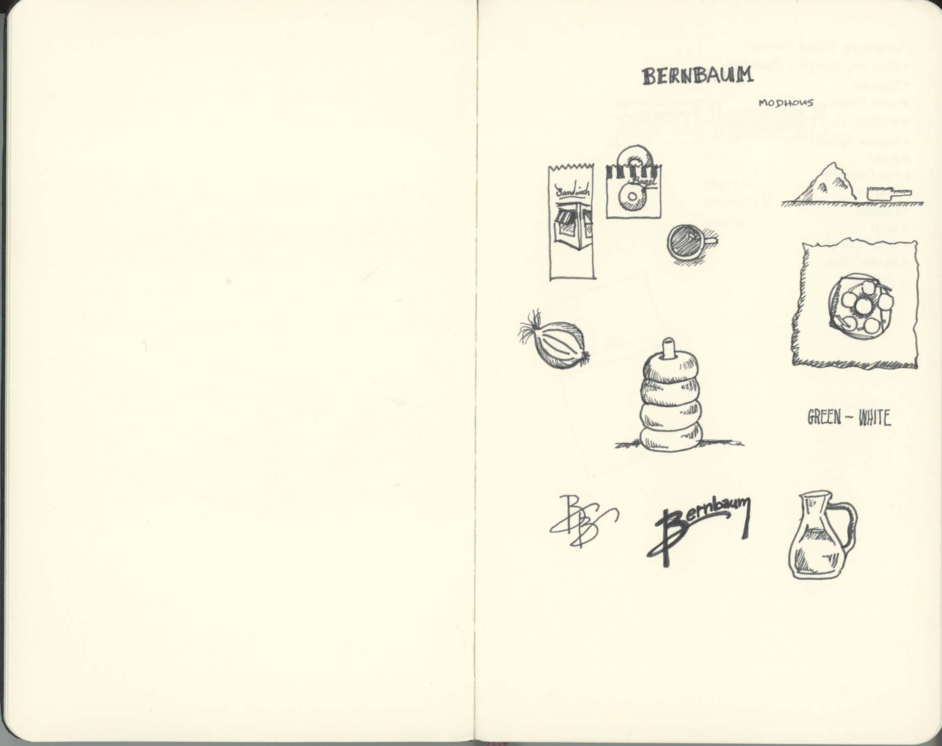 Scan of sketchbook pages containing illustrations of bagels and toppings