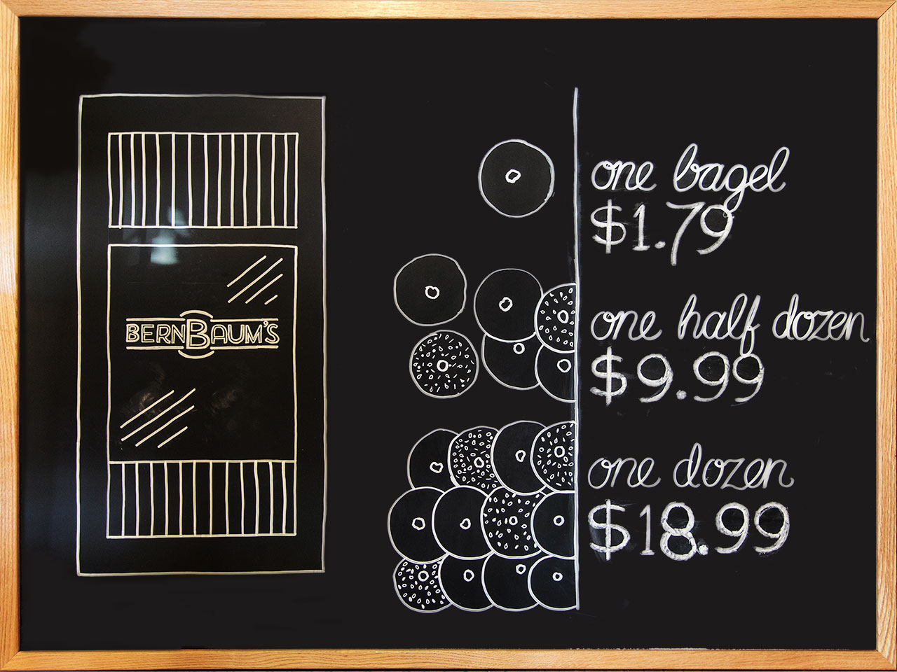 Black chalkboard with white chalked pricing of bagels, illustrations of plain and seeded bagels, and BernBaum's front door