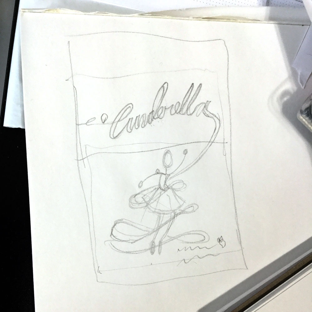 Sketchbook page displaying pencil drawing of Cinderella poster layout
