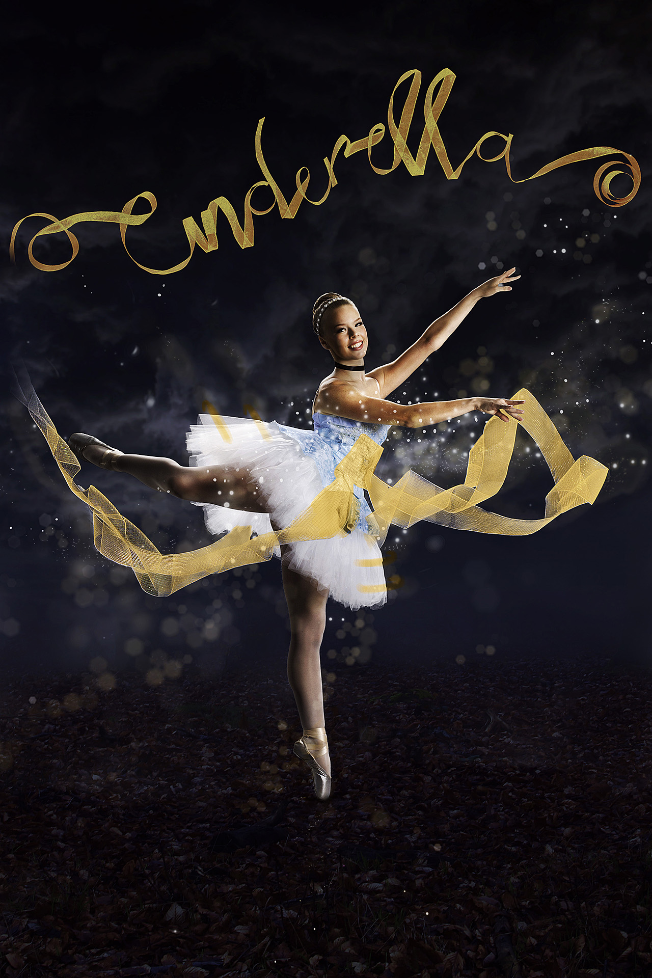 Dark, cloudy background with ballerina in short blue costume and Cinderella written in gold ribbon in foreground