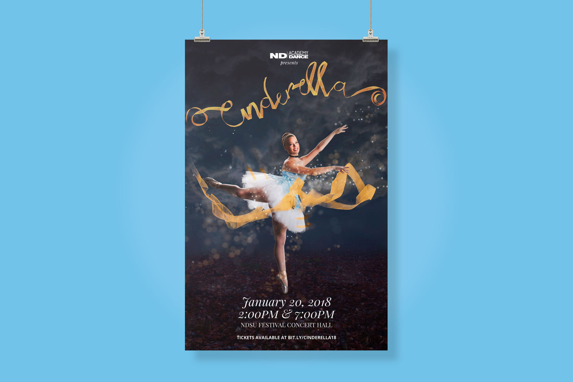 Blue background with poster of ballerina in short blue costume and Cinderella written in gold ribbon in foreground