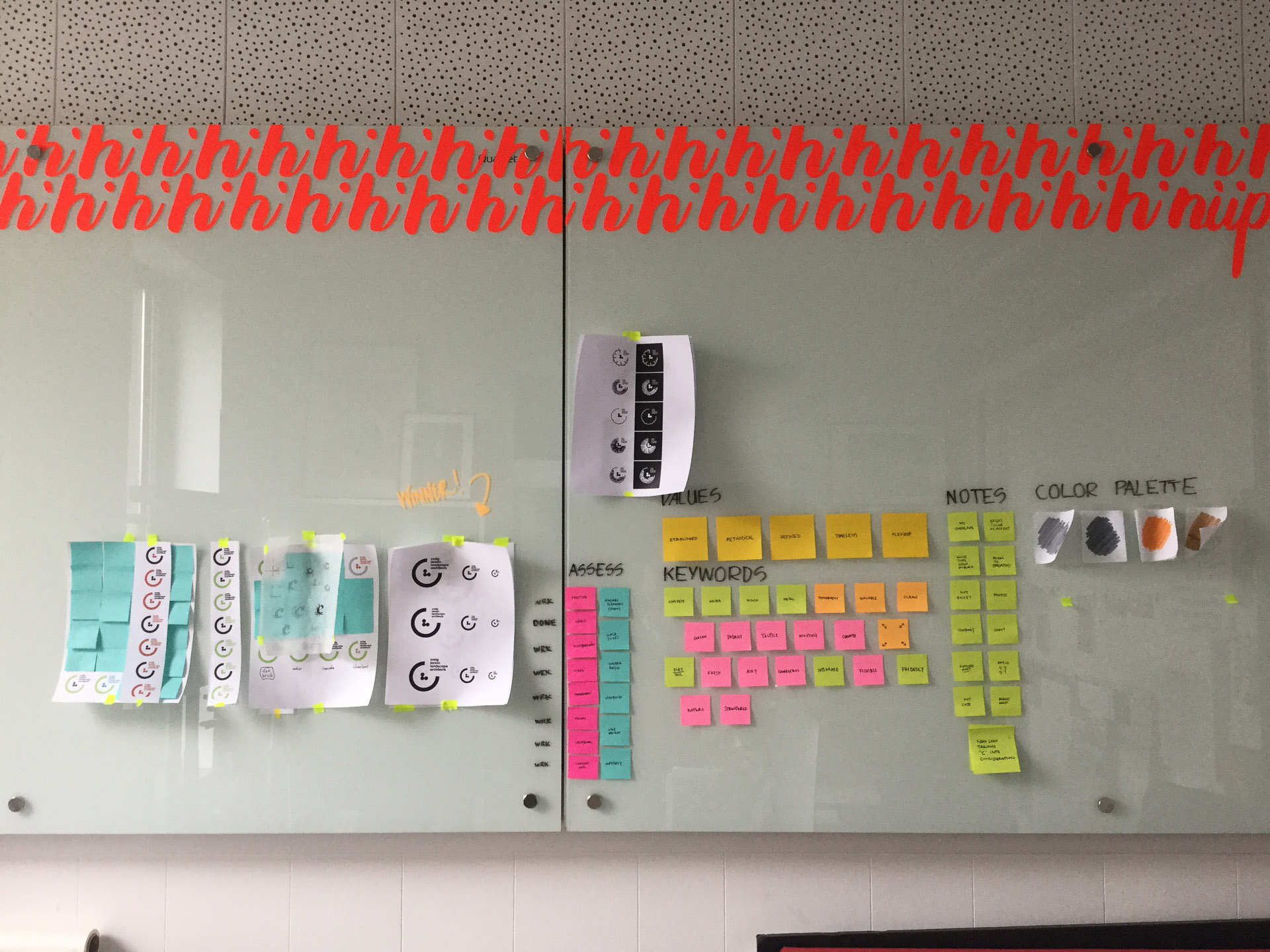 White board covered in printed logo concepts and colorful post-it notes used in ideation