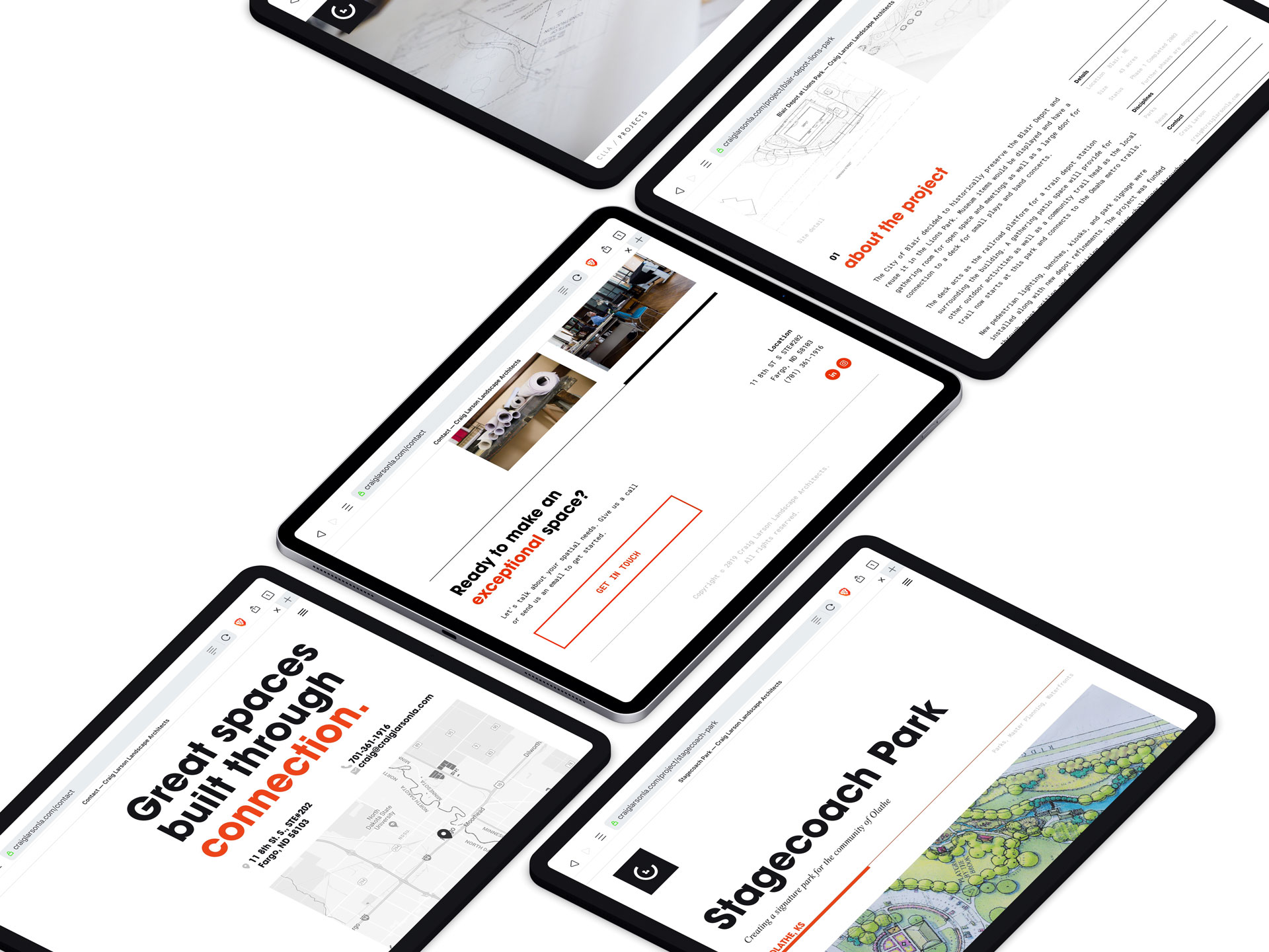 Isometric view of iPad screens showing various screenshots of the CLLA website