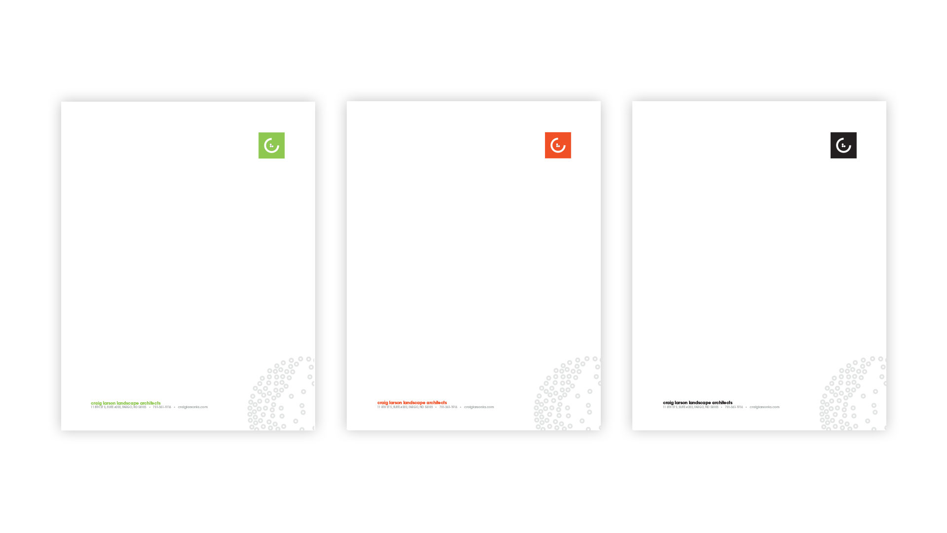 Green, red-orange, and black versions of CLLA branded letterhead