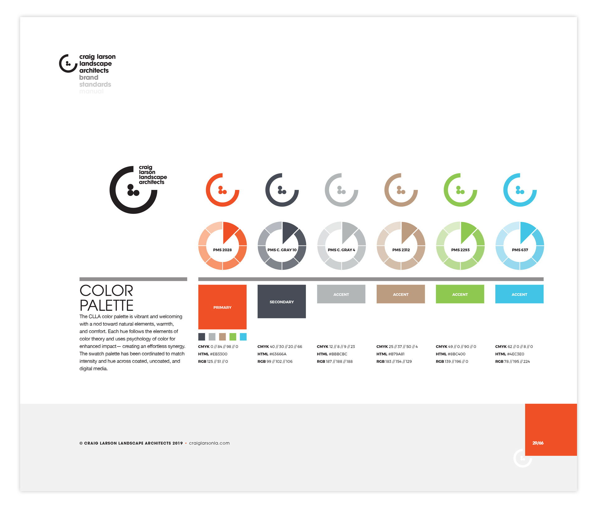 A single page of the brand identity manual displaying the CLLA color scheme
