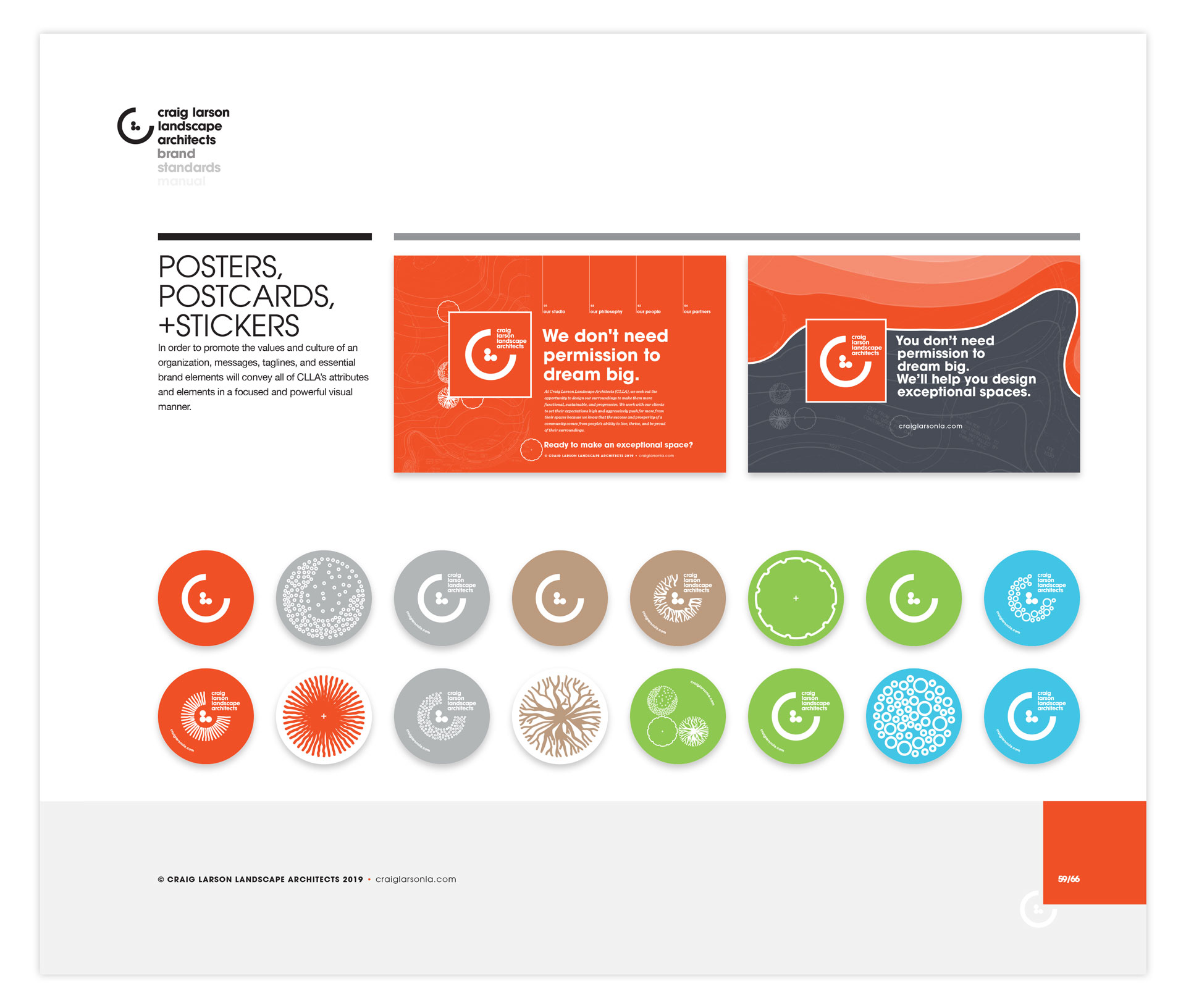 A brand identity manual page displaying two postcard designs and round stickers bearing variations of the CLLA logomark