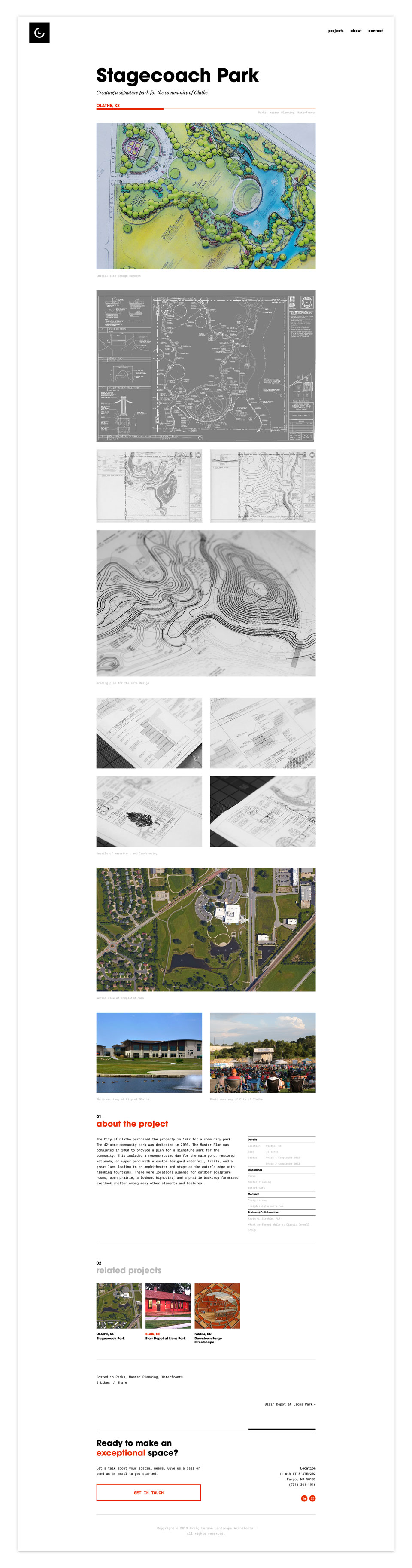 Screenshot of a single project page on CLLA website displaying details about the design of the Stagecoach Park
