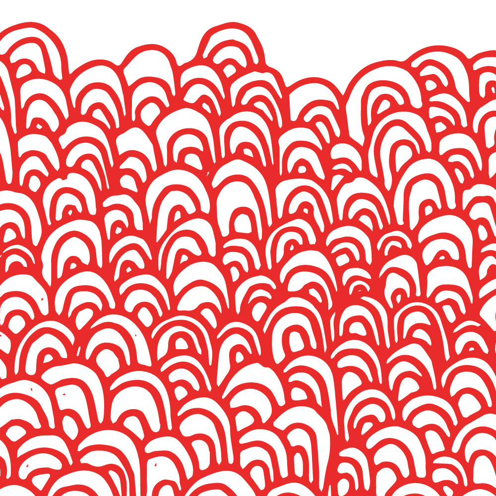 Red hand-drawn arch pattern