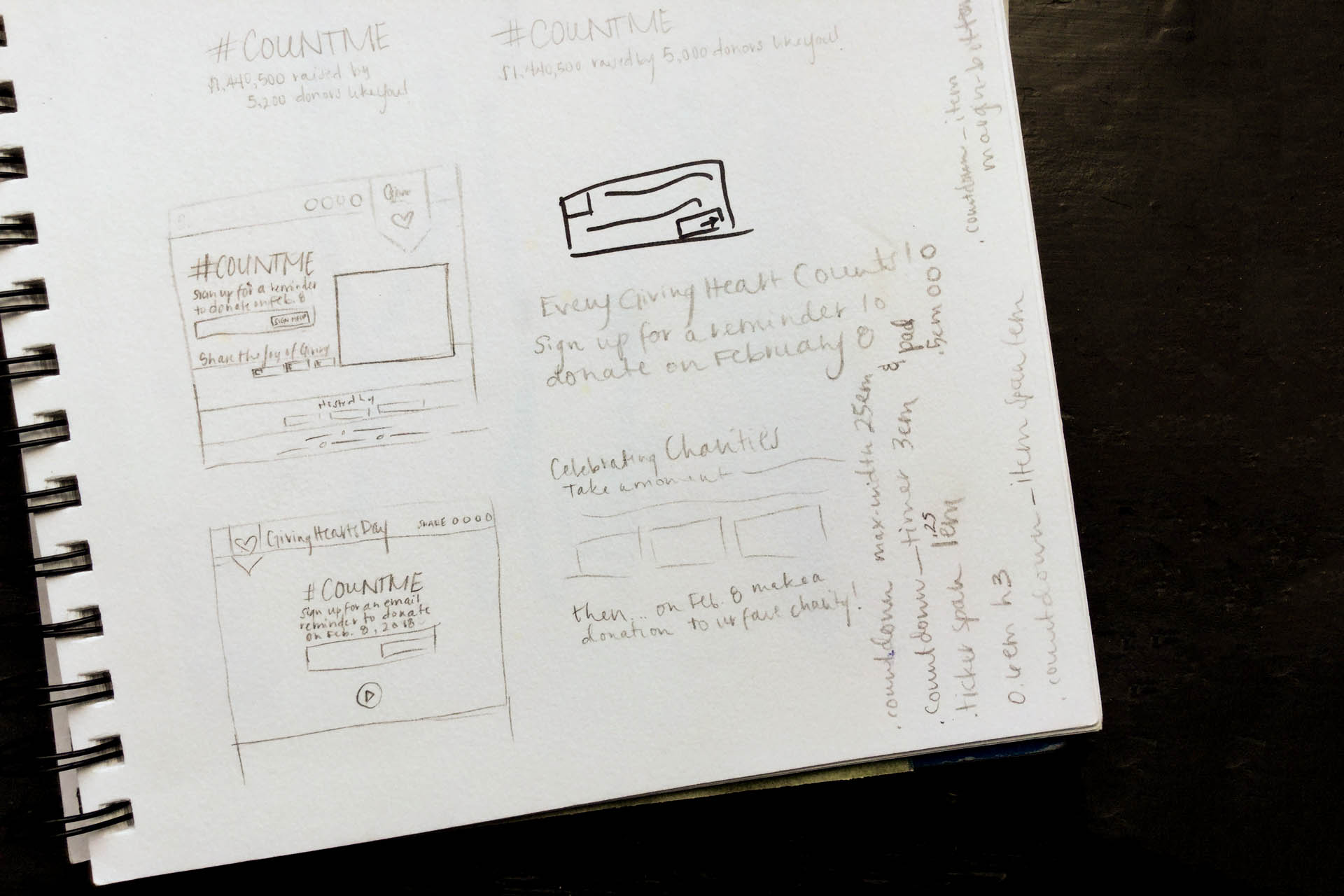Sketches of wireframe UI