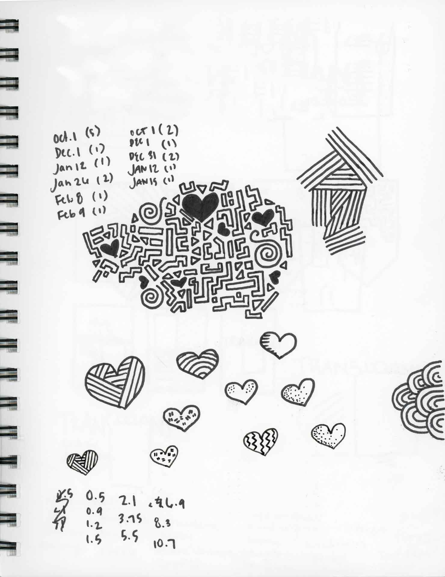 Single page of sketch book with sketches of patterns and hearts