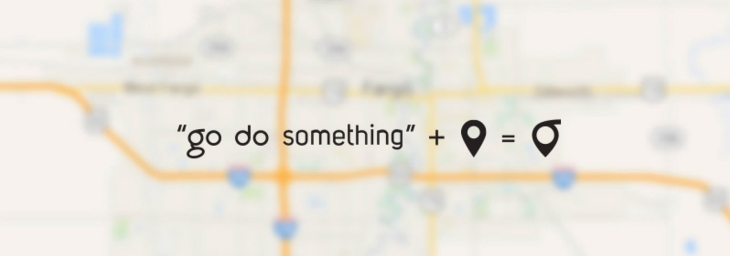 go do something + map icon = godoo icon overlaid on a blurred map of the Fargo-Moorhead area