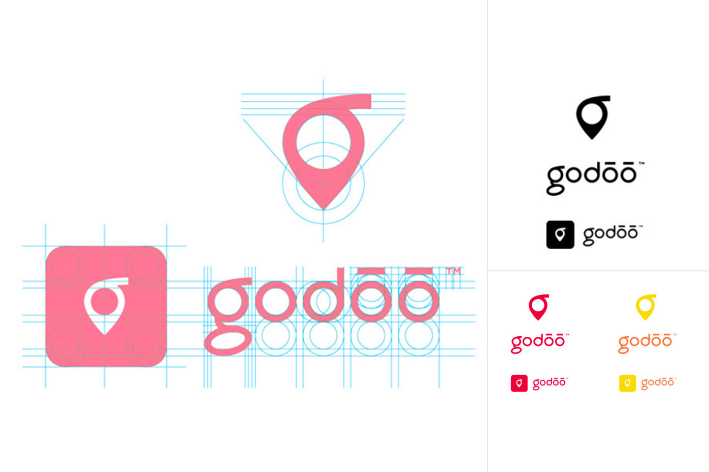 Godoo logo and logomark laid out on a grid