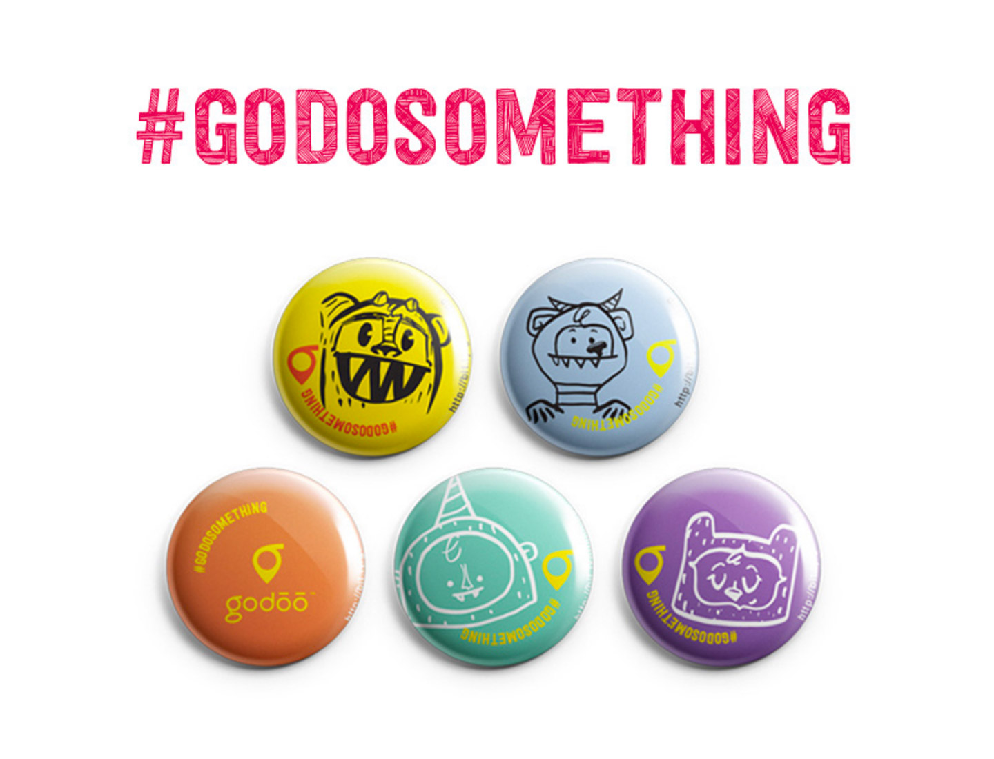 #godosomething hashtag with five colorful buttons featuring cute monster illustrations