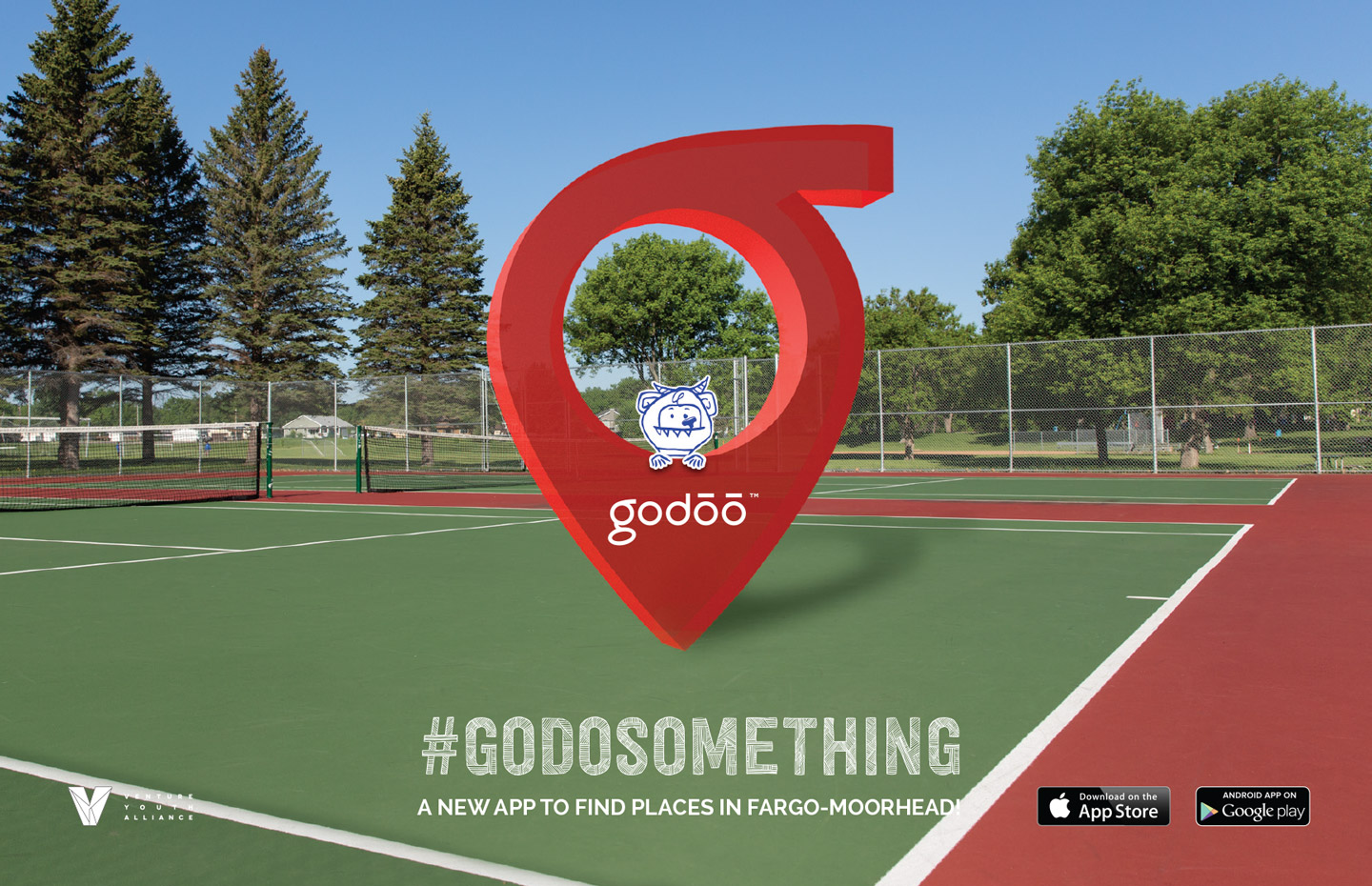 Godoo icon and cute monster in a tennis court with text #godosomething a new app to find places in Fargo-Moorhead