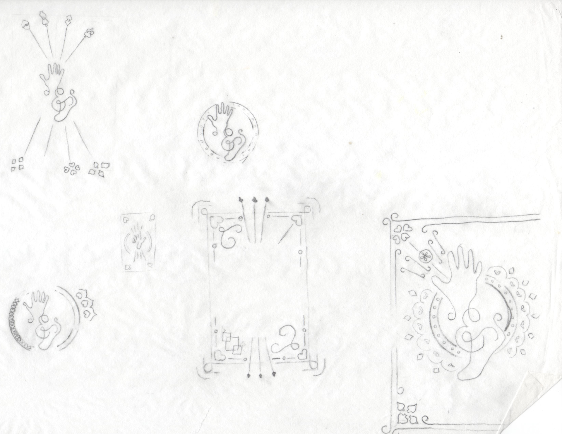 Sketches of hand and foot card back layouts