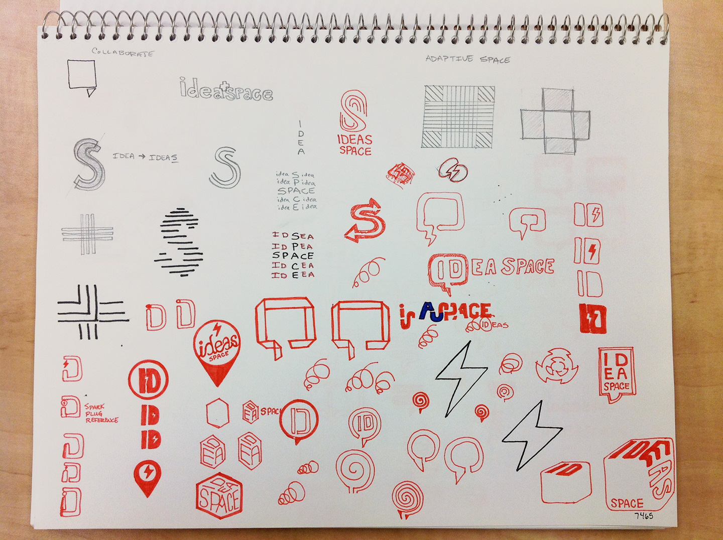 Sketchbook page covered in icon and logo concepts