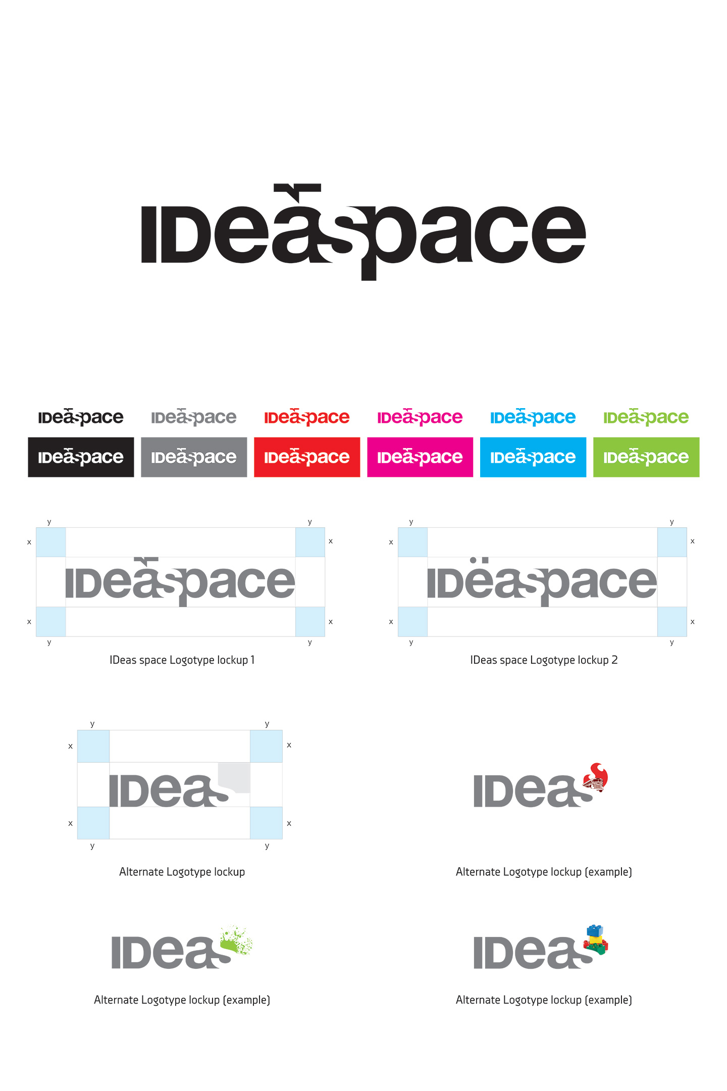 IDeaspace logotype and color scheme on a white piece of paper