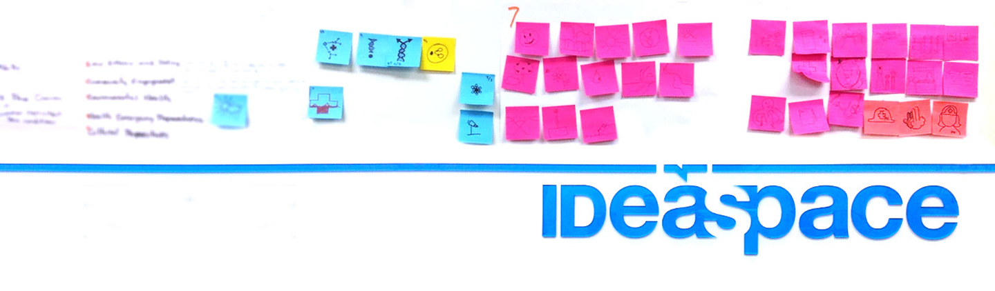 Colored post-it notes and IDeaspace written in blue