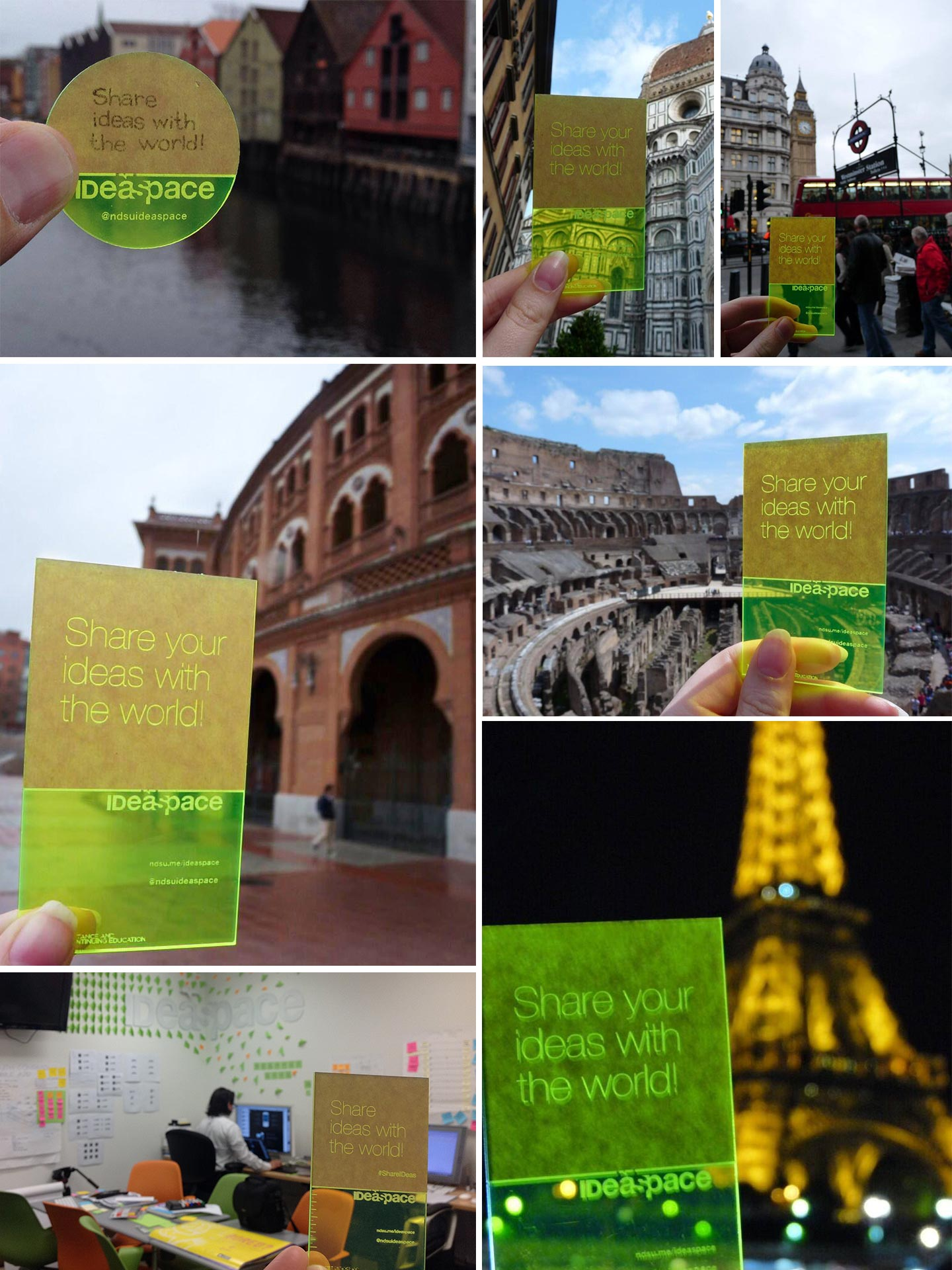 A grid of photos of hands holding lime green acrylic in front of famous landmarks across the world