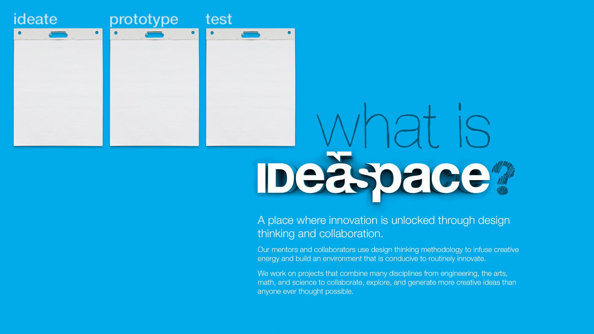 Text reading What is IDeaspace? on a blue background next to three notepads
