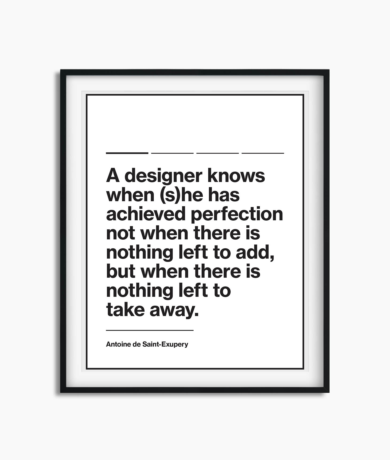 White poster with black design quote