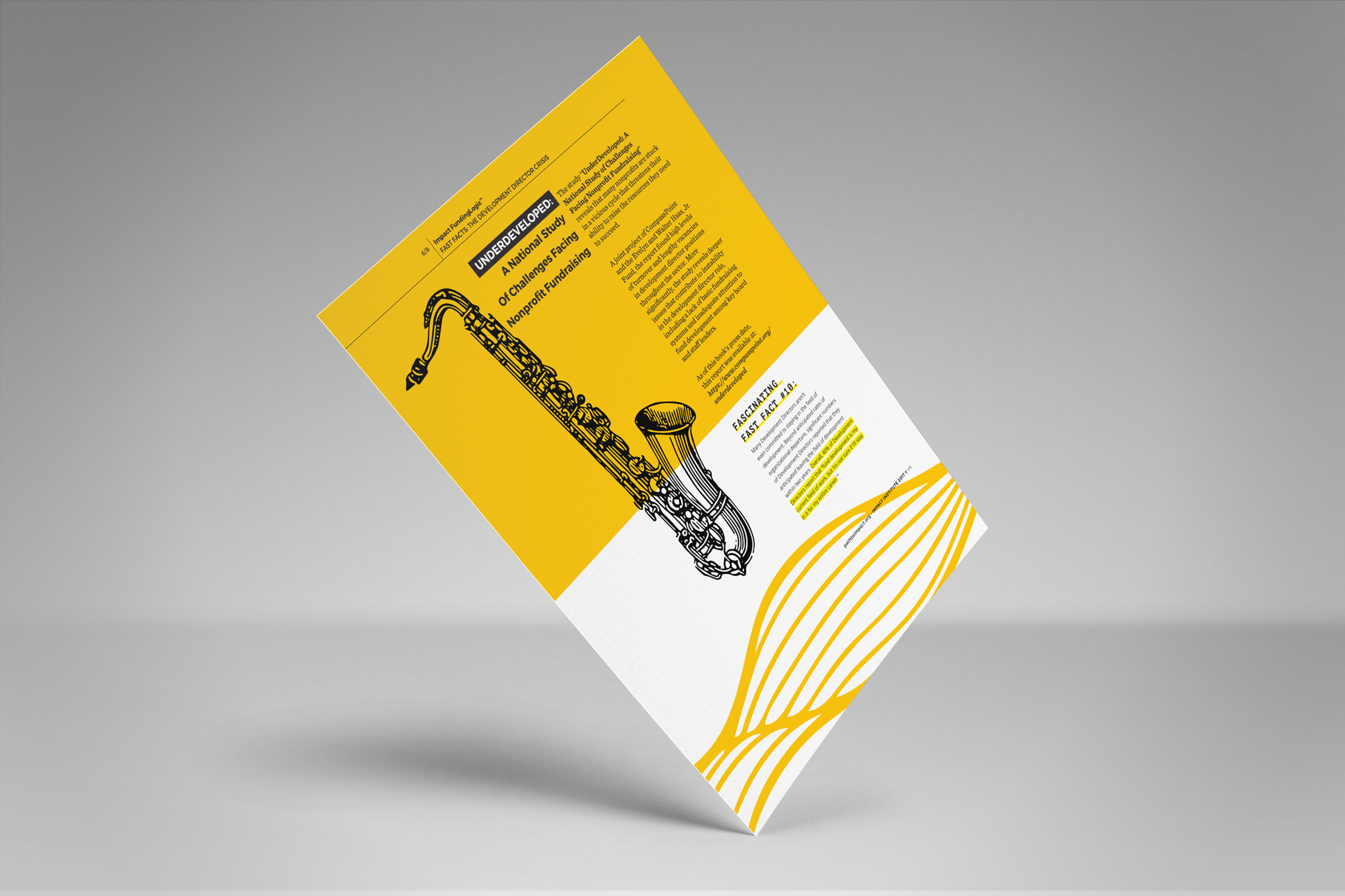 Mockup of a single page of a printed article with yellow accents and a black, hand-drawn saxophone on it