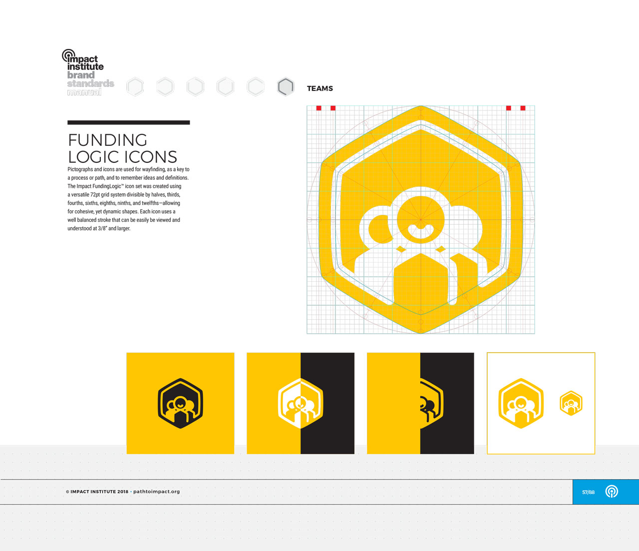 Single page from brand identity manual displaying yellow, hexagonal team icon