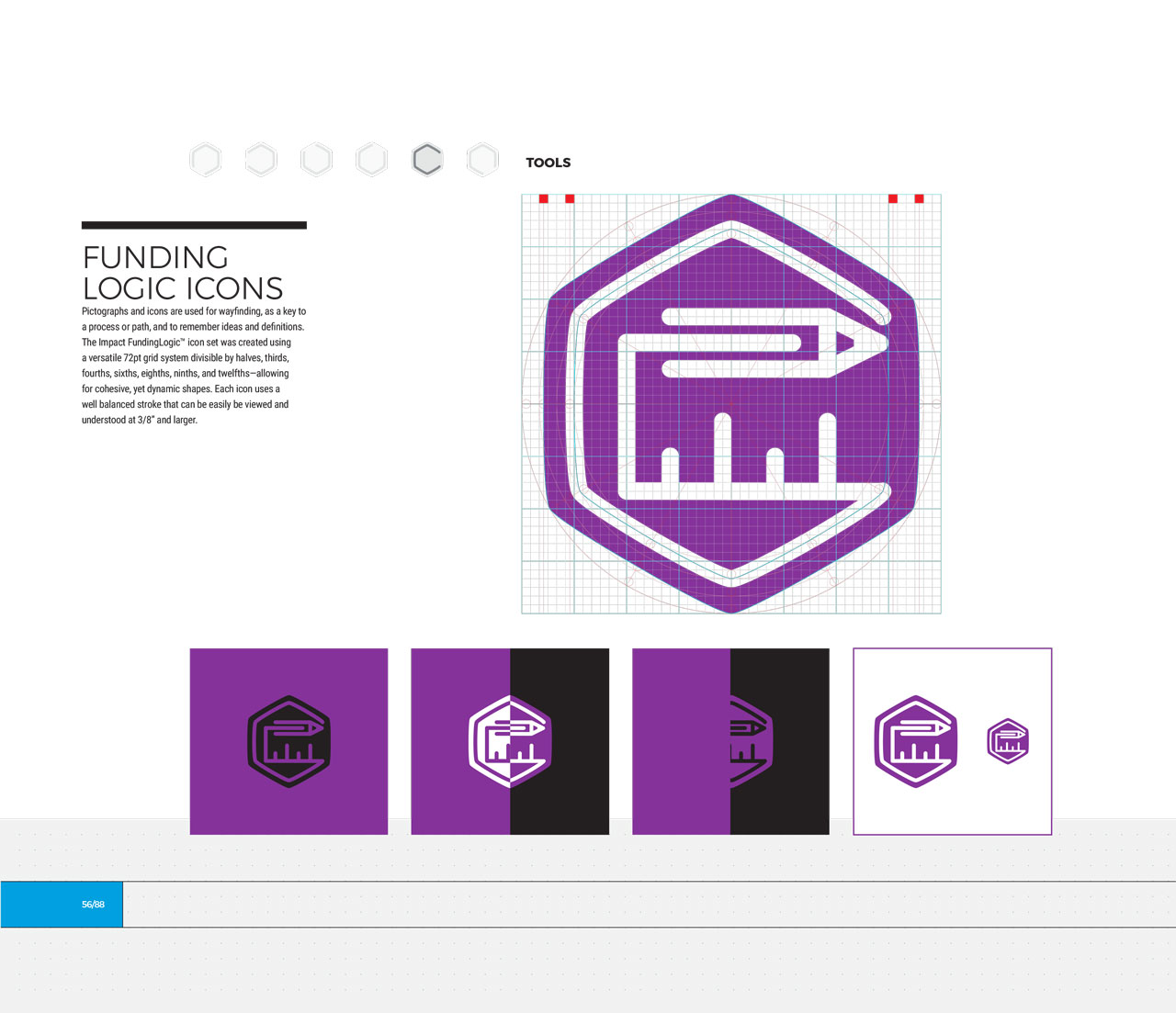 Single page from brand identity manual displaying purple, hexagonal tools icon