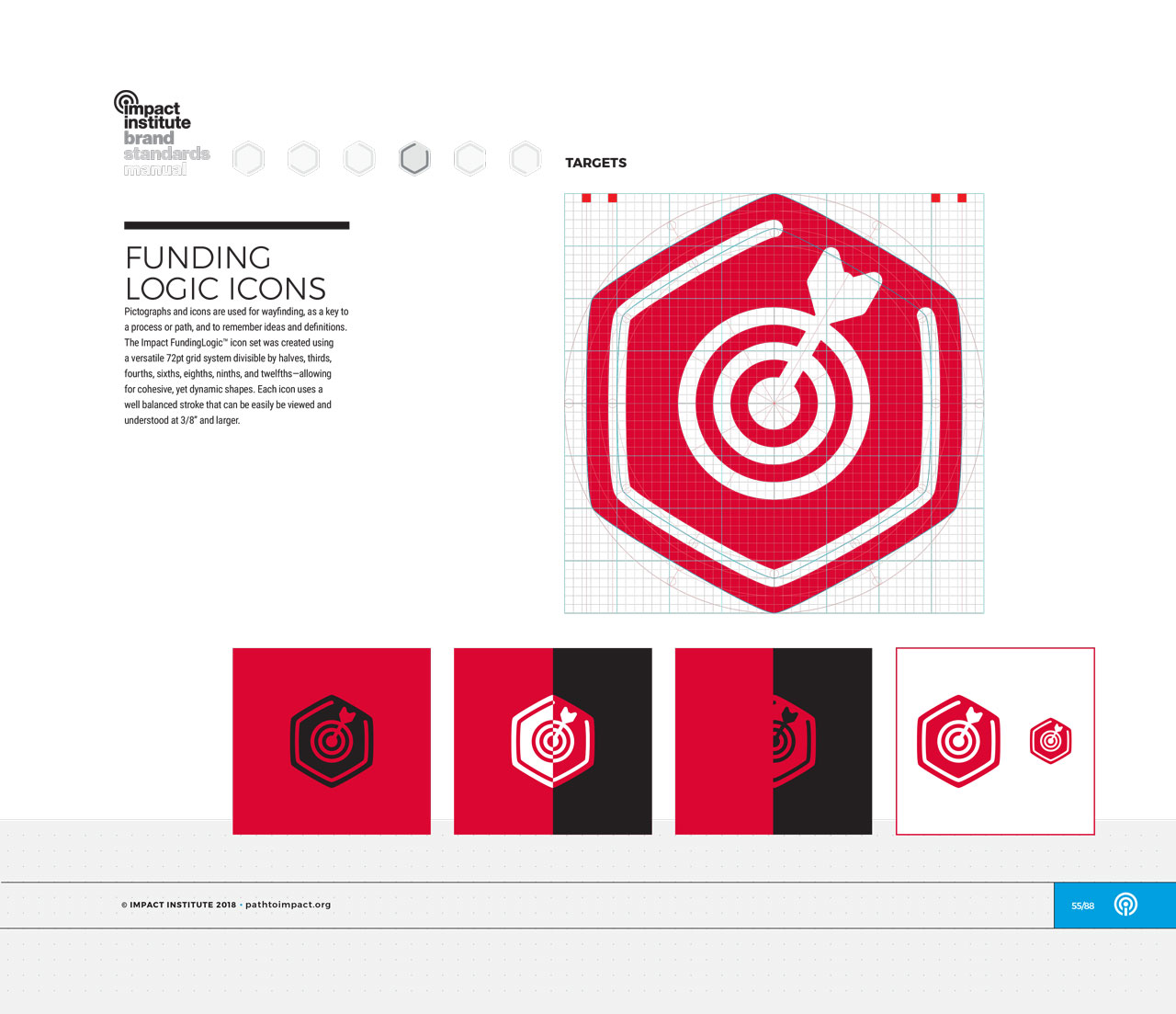 Single page from brand identity manual displaying red, hexagonal target icon