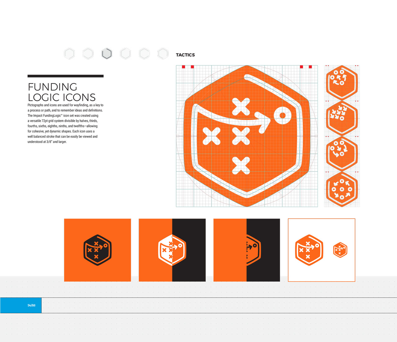 Single page from brand identity manual displaying orange, hexagonal tactics icon