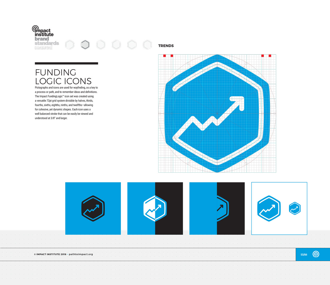 Single page from brand identity manual displaying blue, hexagonal trends icon