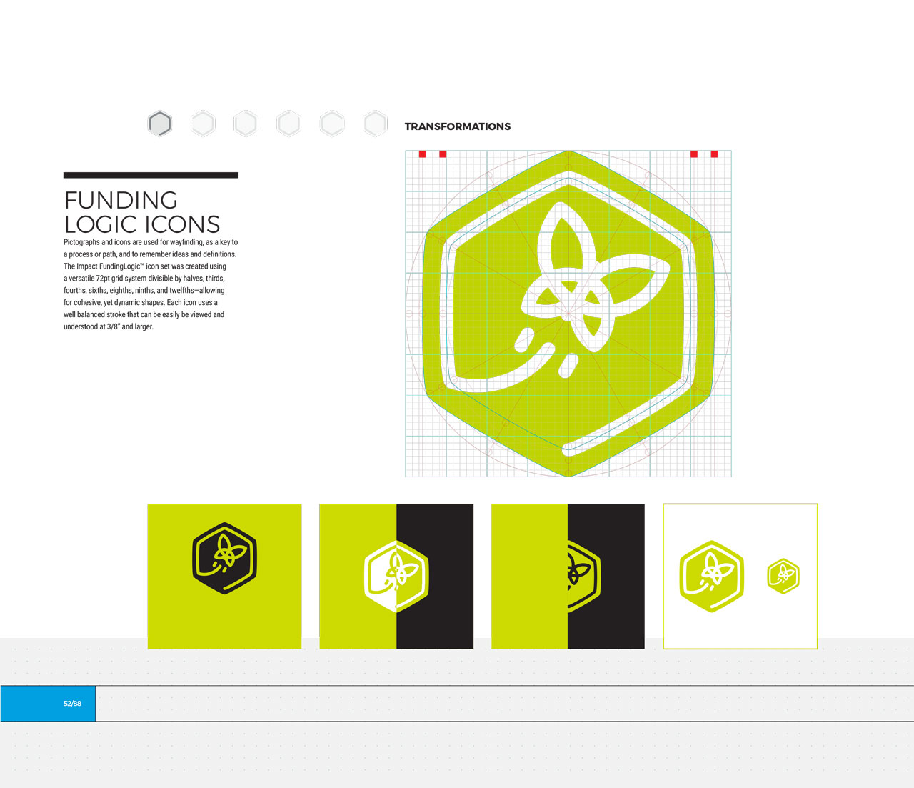Single page from brand identity manual displaying green, hexagonal transformation icon