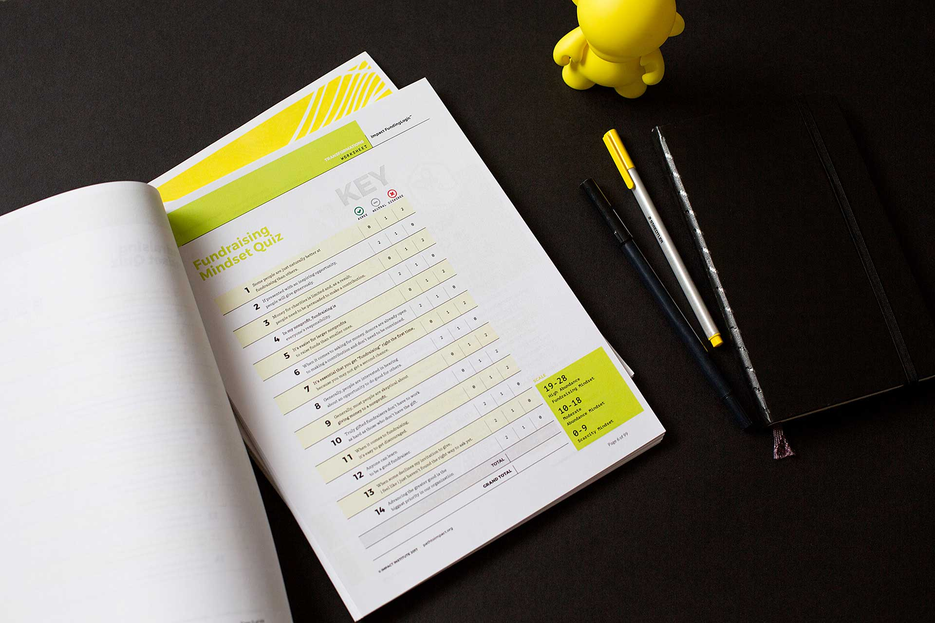 FundingLogic printed booklet open to a worksheet page next to pens and a yellow munny figurine on a black background