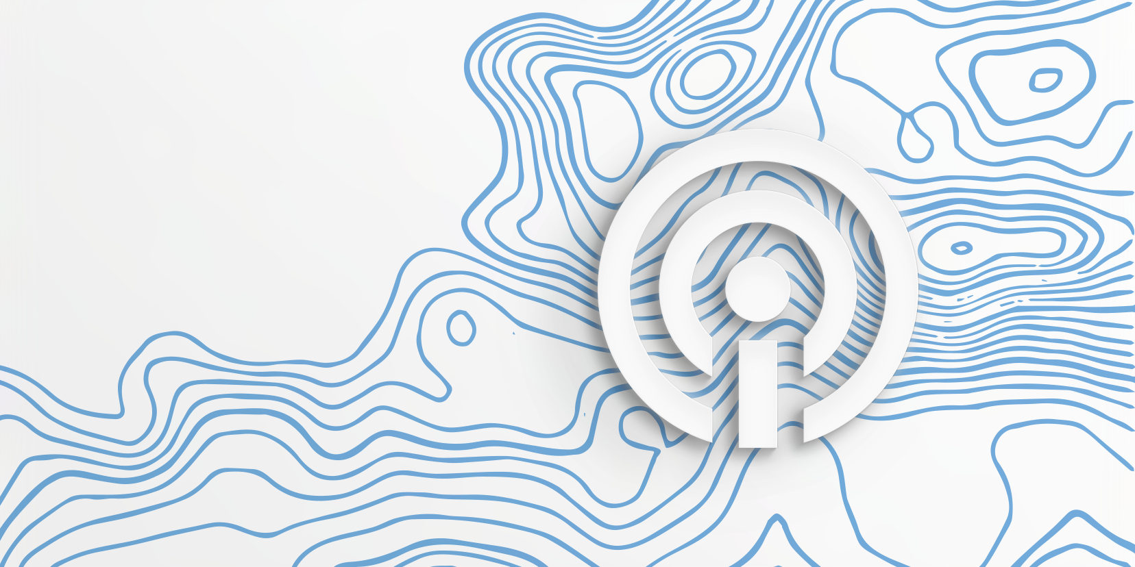 White Impact Institute icon over blue topography lines on a white background