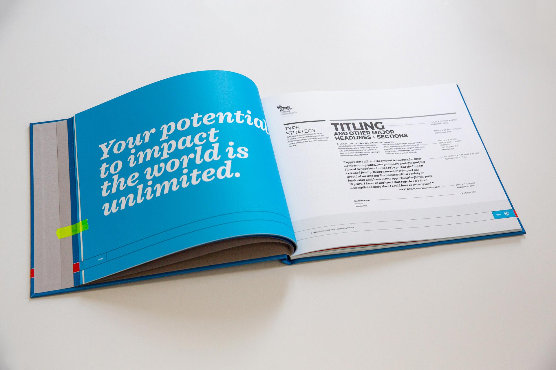 Impact Institute brand guideline manual open to spread with large white quote on the left page and typography on the right
