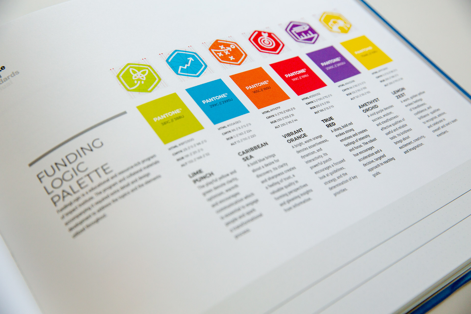 Impact brand guideline manual open to FundingLogic color scheme page
