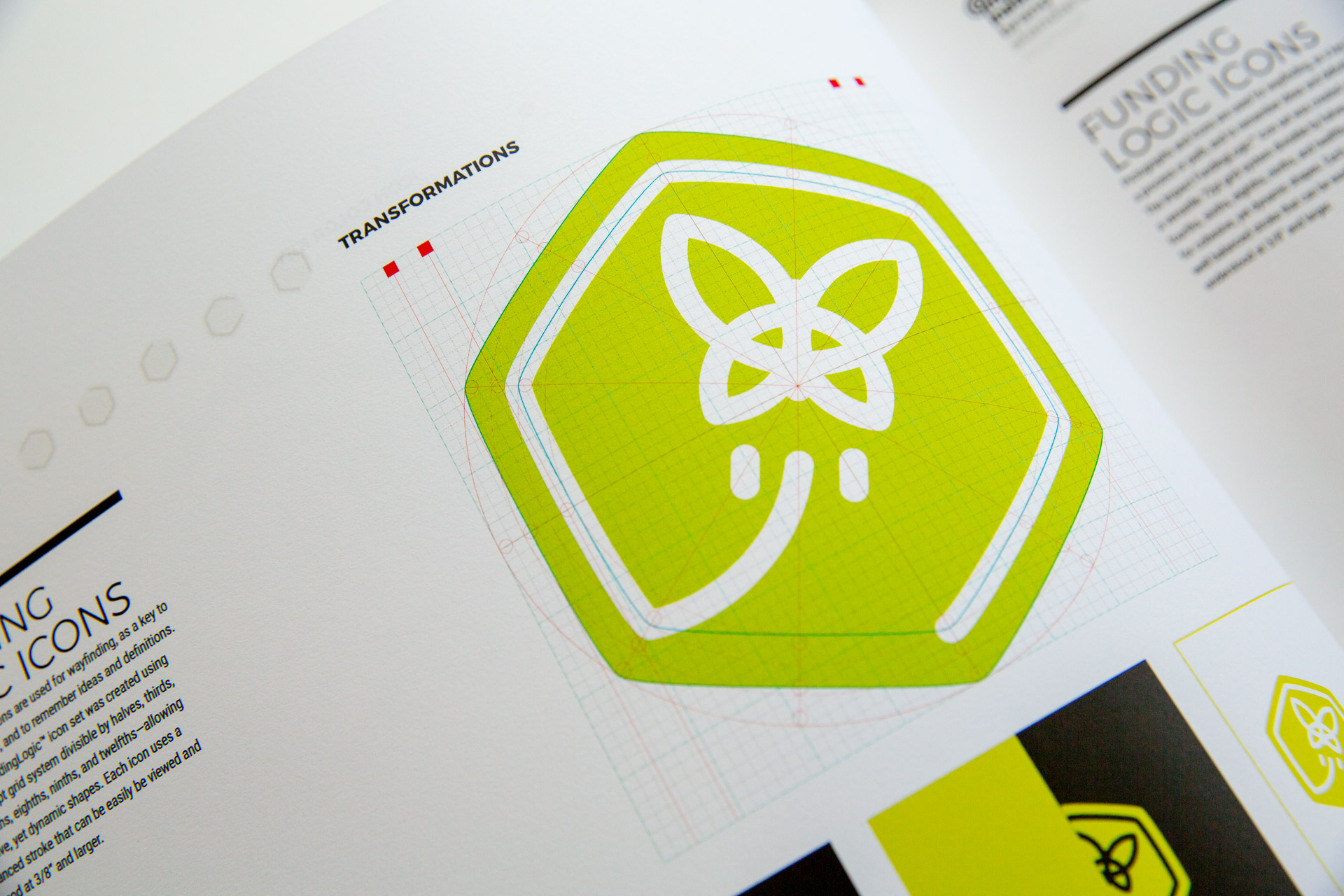 Green butterfly Transformations icon on white page of Impact brand guideline manual