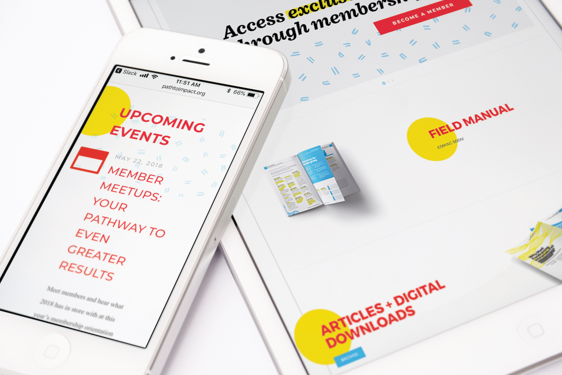 Mockup of iPhone and iPad displaying Impact Institute FundingLogic Shopify site