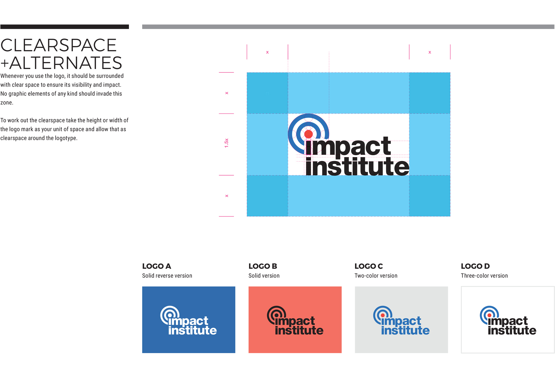 Impact Institute logo laid out on a grid and displayed in different variations of red and blue color arrangements