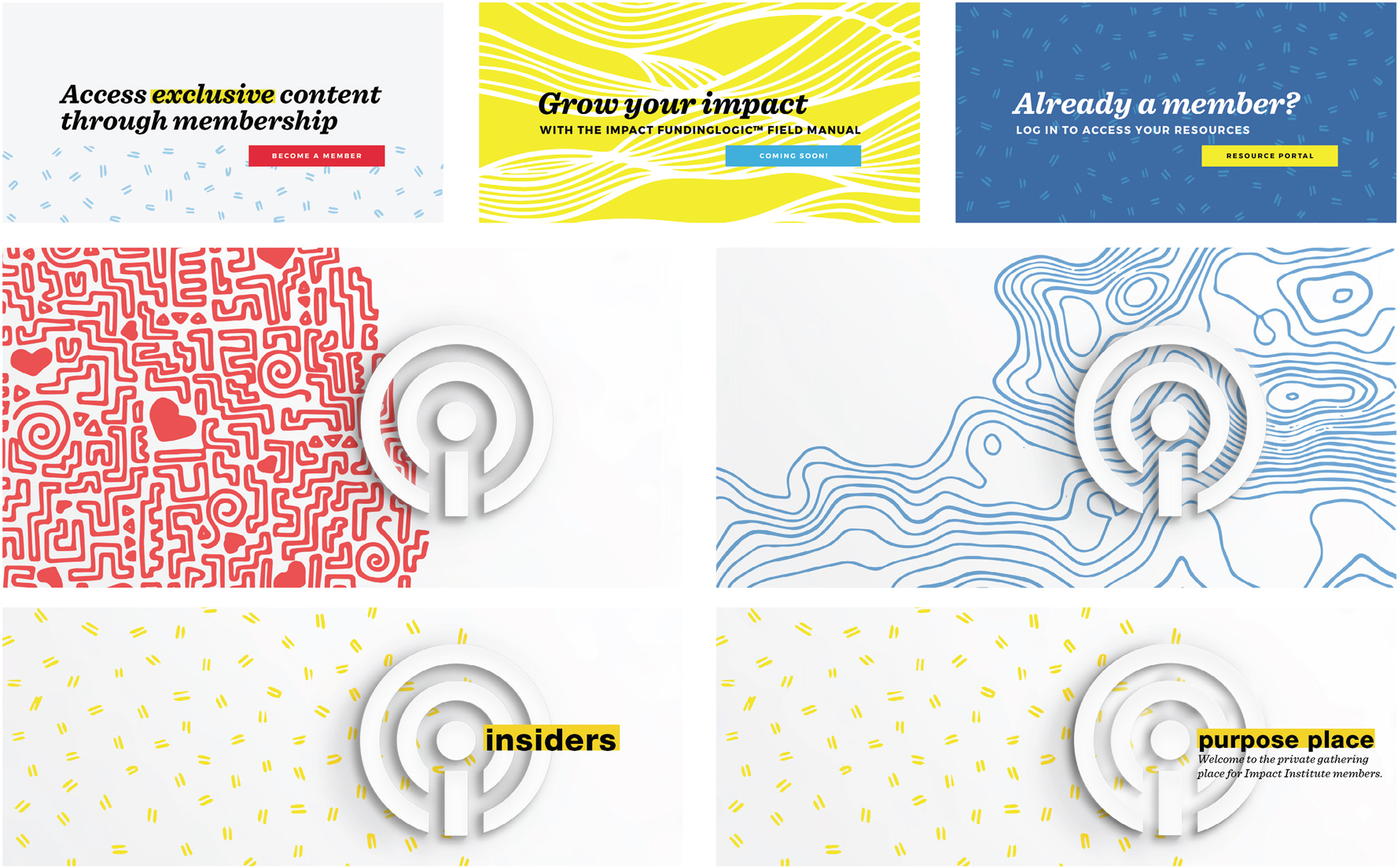 Social media banners with illustrated patterns and the Impact Institute icon on them