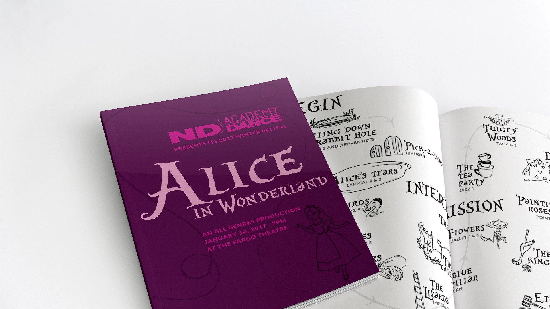 Alice in Wonderland program cover laying on top of open program on white surface