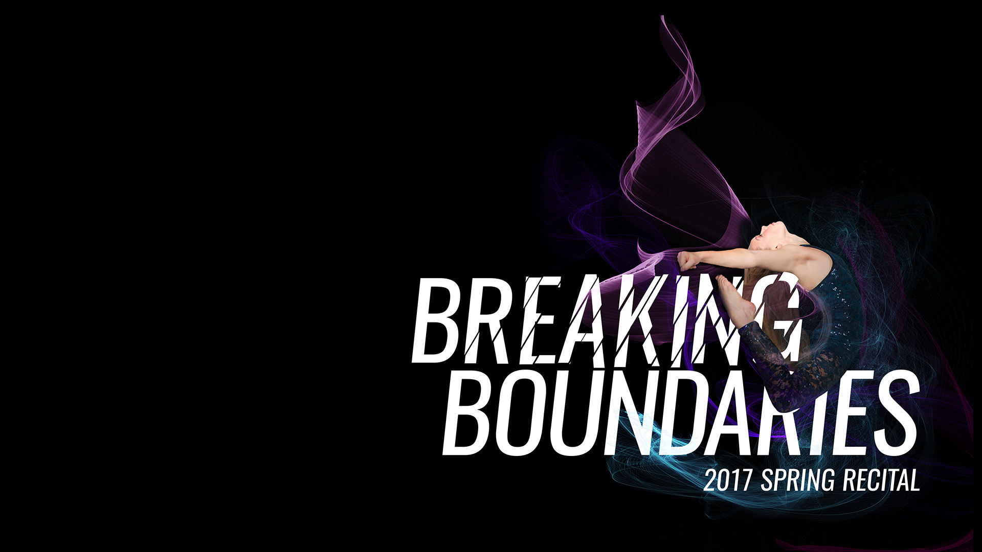 Dancer jumping in the air with colored wisps in the background around the words Breaking Boundaries on a black background