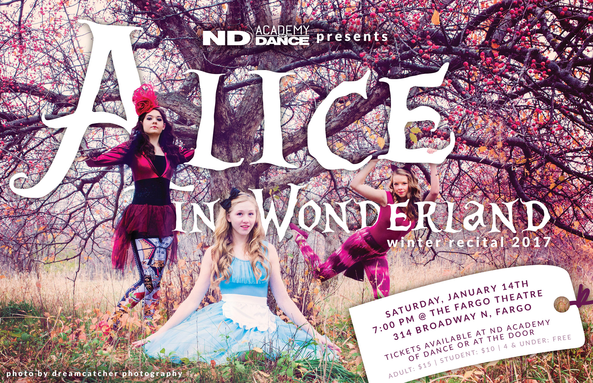Alice in Wonderland poster with large white lettering and three dancers dressed as Alice, Queen of Hearts, and Cheshire Cat