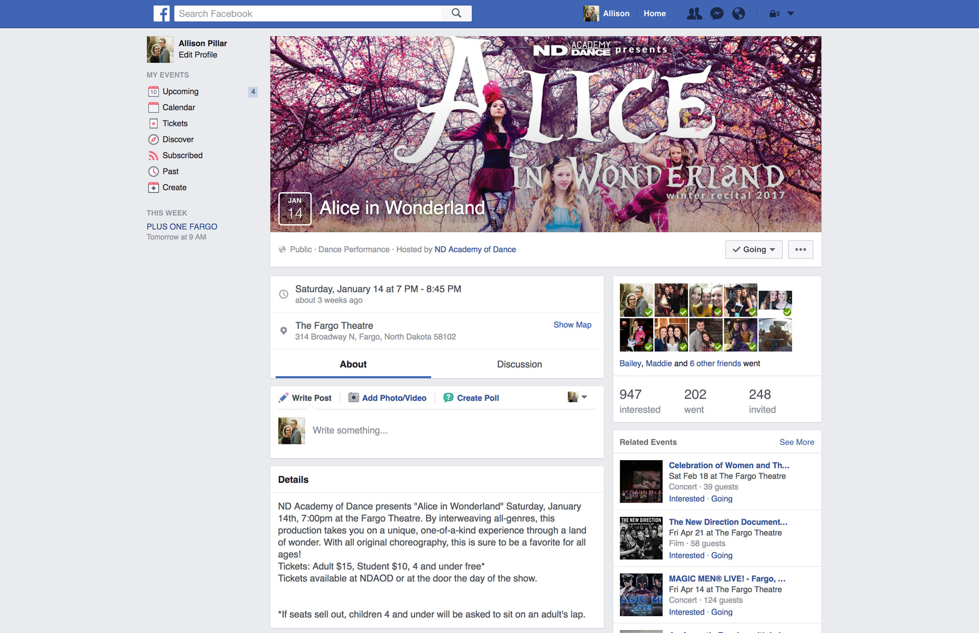 Screen capture of Alice in Wonderland Facebook event page