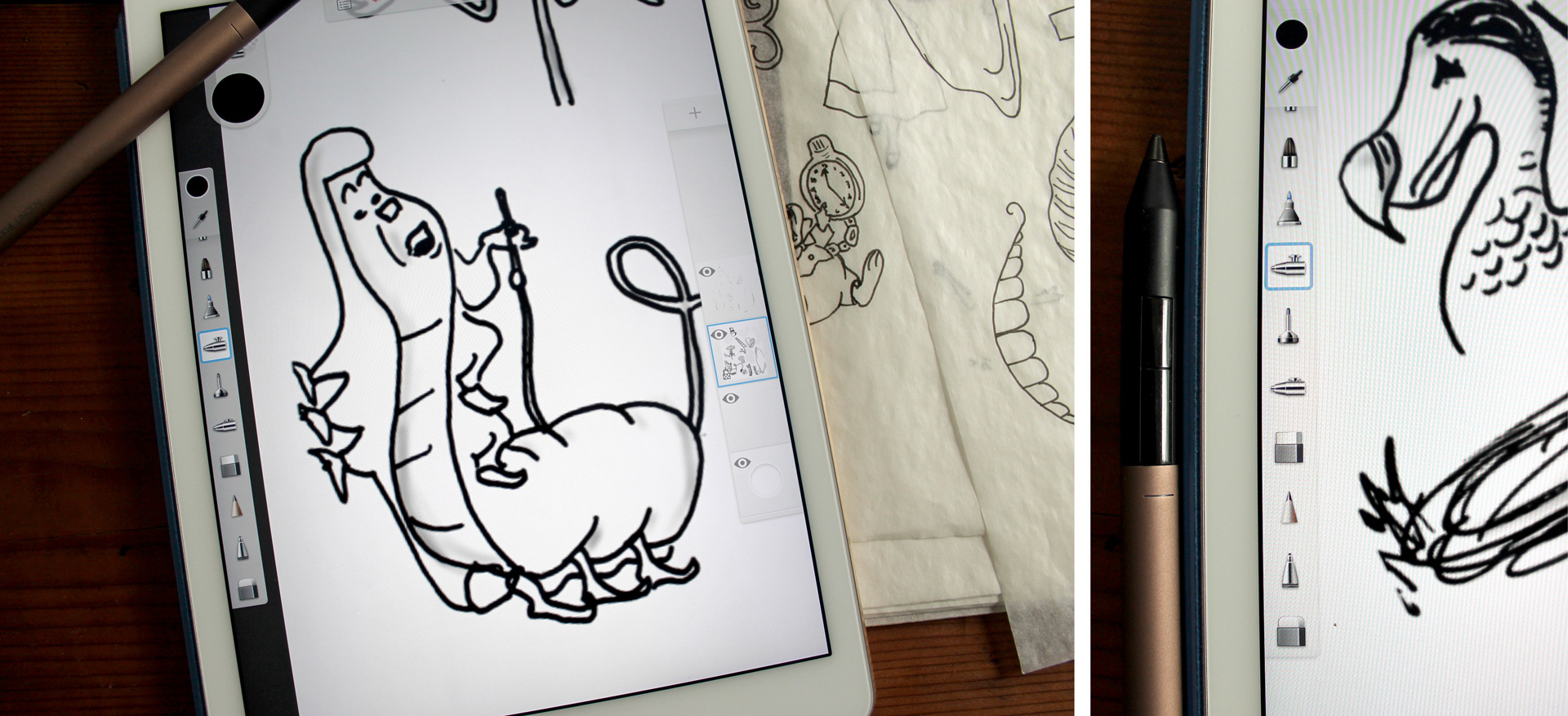 Two photos of vectorized Alice in Wonderland character sketches
