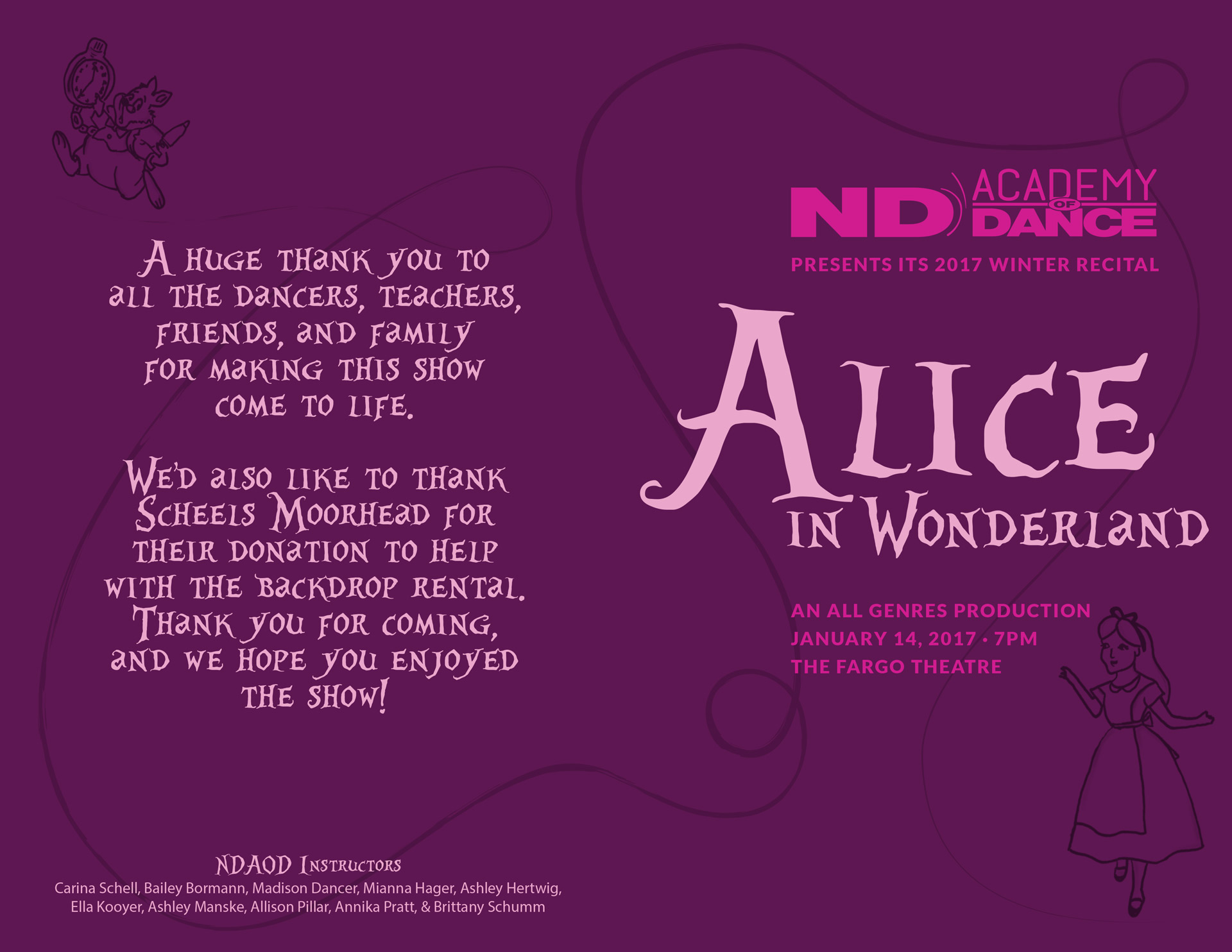 Purple outside cover of program for Alice and Wonderland