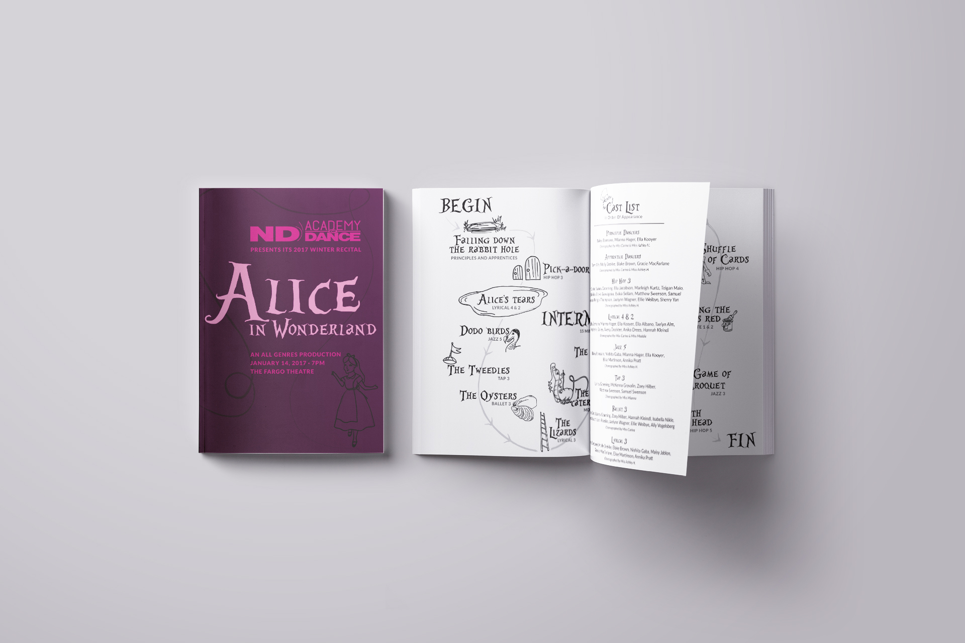Closed, printed program next to open program on a light gray background