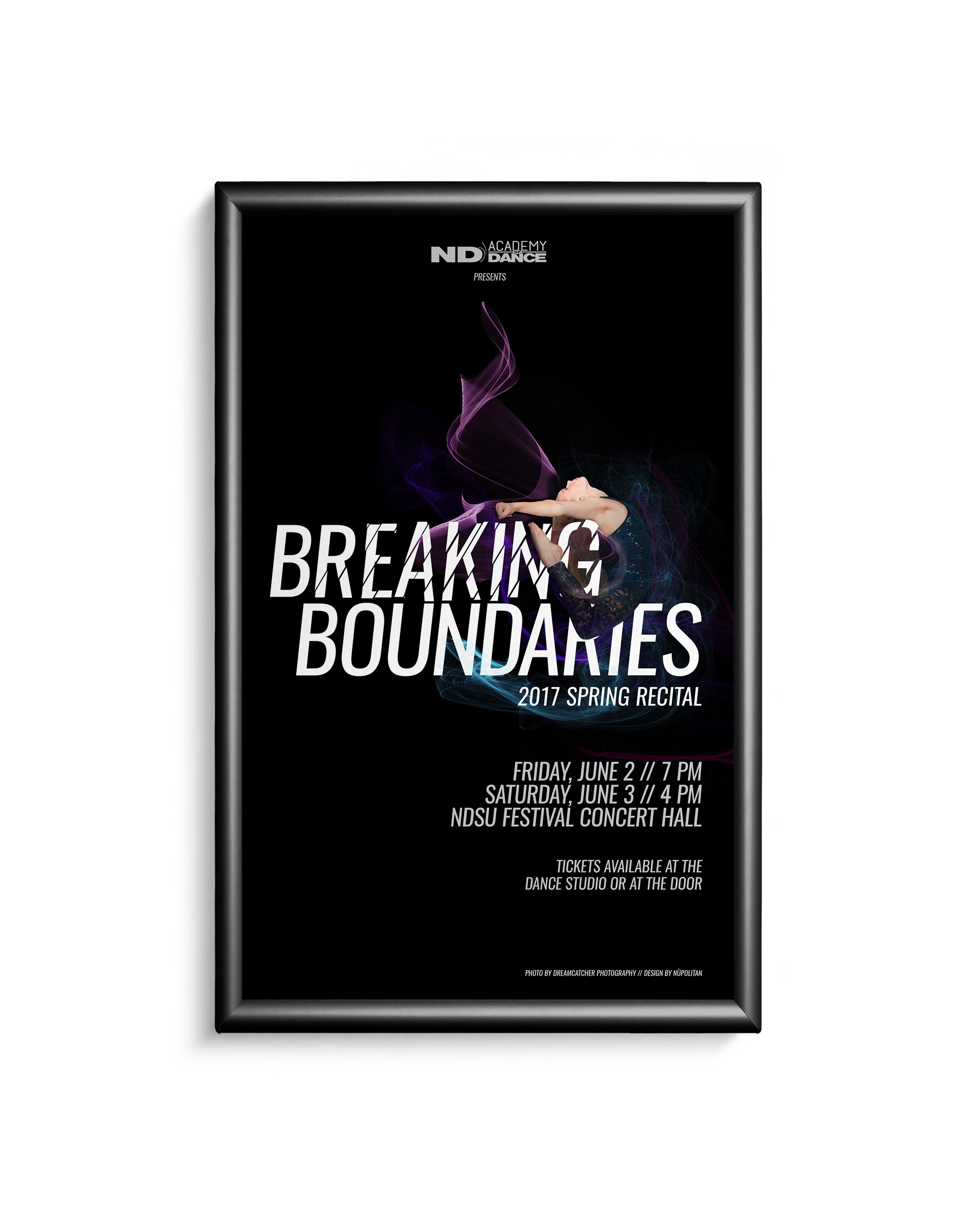 Poster of dancer jumping with colored wisps behind her and the words Breaking Boundaries in white on a black poster
