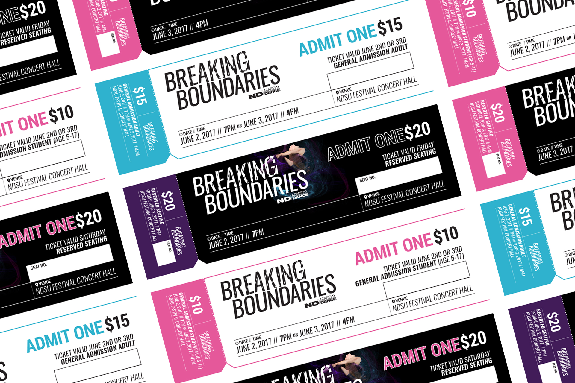 Grid of black and white tickets for Breaking Boundaries recital