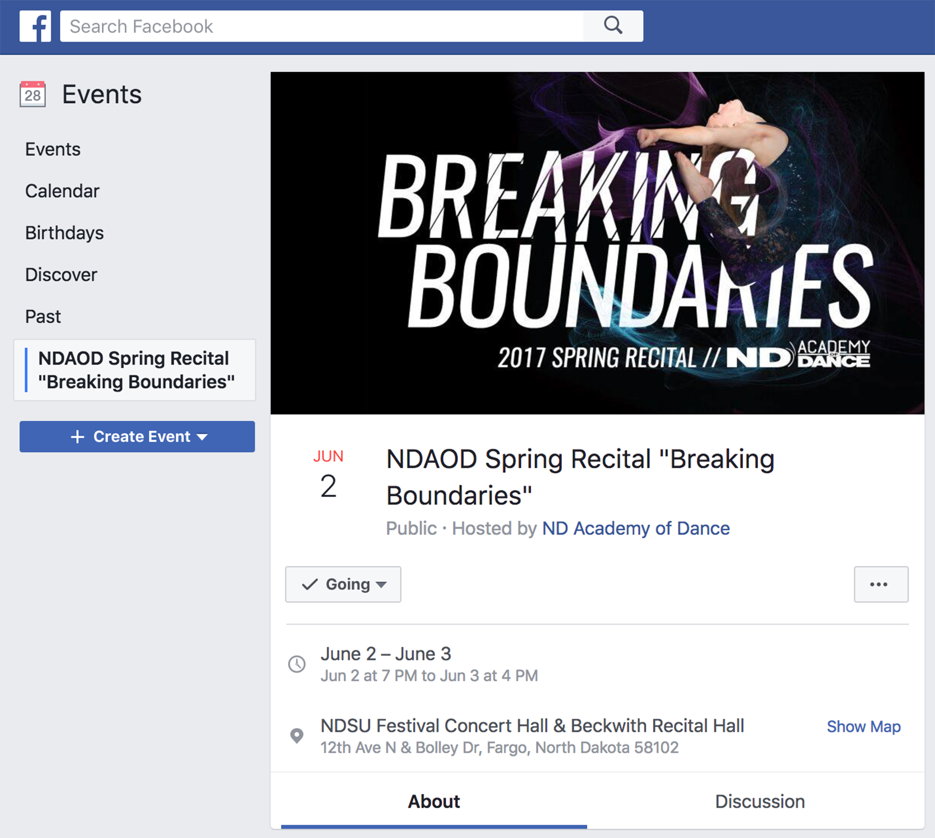 Screen capture of Facebook event for Breaking Boundaries recital